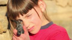 Boy with gun.Boy playing weapon.Little warrior.Teenager a gun aiming. Stock Footage