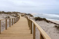 Boardwalk in Praia Barra Stock Photos
