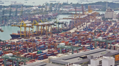 Timelapse of the port of Singapore - stock footage
