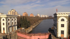 Historical River water urban gateway on a background of modern City Stock Footage