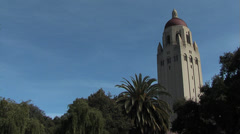 Stanford Campus Bell Tower Pan Stock Footage