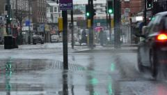 London rainy day street scene Stock Footage