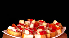 Sliced ​​bread with ham and vegetables Stock Footage