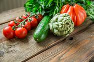Vegetables on wood background Stock Photos