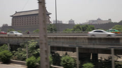 View of Xi'an city wall form moving train ,xi'an, shaanxi, china Stock Footage