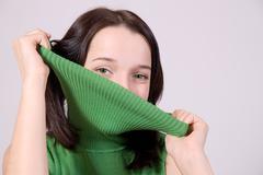 Teenage girl hide face Stock Photos