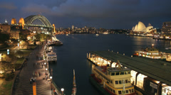 Sydney Harbour 3 1080p time-lapse Australia. Beautiful night on Circular Quay Stock Footage
