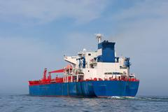 Tanker sailing in the sea Stock Photos