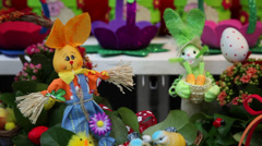 Stock Video Footage of Easter decorations, fair, fest, street market, handy craft, bunnies, eggs