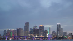 Miami Timelapse Skyline Day to Night Stock Footage