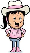 cowgirl smiling - stock illustration