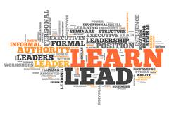 Word cloud learn and lead Stock Illustration