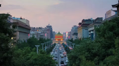 Traffic in downtown area near bell tower,xi'an,shaanxi,china Stock Footage