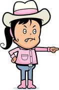 angry cowgirl - stock illustration