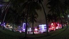 Miami Timelapse Ocean Drive Palms Night Stock Footage