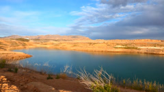 Storm Clouds Twilight Lake Meade Stock Footage