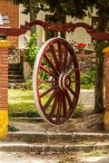Decorative wooden wheel,medina del campo,spain Stock Photos