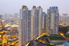 Hong Kong apartments at night - stock photo