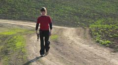 Boy with gun.Boy playing weapon.Teenager a gun aiming. Stock Footage