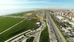 Flying over of Maltepe Urban Park Stock Footage