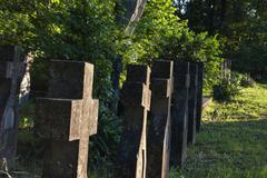 grouped christian crosses from world war two - stock photo