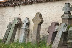 Gothic crosses a roman catholic cemetery Stock Photos