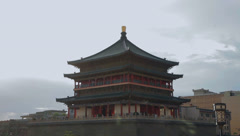 Bell tower, a famous landmark in the center of the ancient city of xian,China Stock Footage