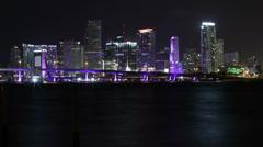 Miami Timelapse Skyline Water Reflection - stock footage