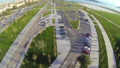 Fly over car parking lots of recreational park Stock Footage