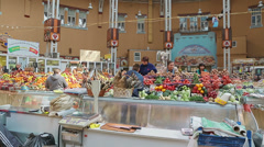 Selling vegetables - Bessarabskiy indoor Market Kiev Stock Footage