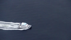 Commuter Ferry Crossing Bay - Aerial Close Up Stock Footage