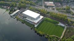 Seattle Seahawks Training Field in Newcastle, Washington Stock Footage