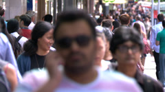 Busy sidewalk on Queen Street, Auckland Stock Footage