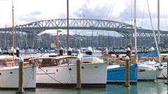 Viaduct harbour and Marina with Harbour bridge Stock Footage