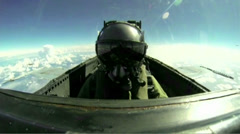 CF-18 Hornet Fighter Jet Cockpit Pilot Stock Footage