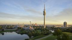 TL Fast Night to Day Olympic Park Munich Stock Footage