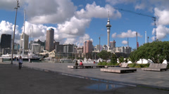 Auckland skyline as seen from the Viaduct centre Stock Footage