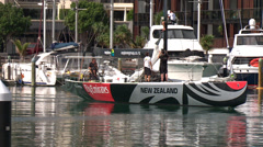 New Zealand racing sailboat sequence Stock Footage