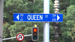 Queen street sign at intersection, Auckland Stock Footage