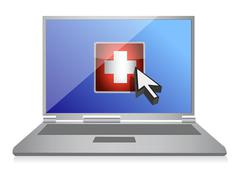 laptop and medical symbol button illustration design over white - stock illustration