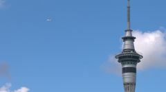 Auckland Skytower with airplane - stock footage