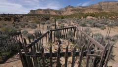 Cemetery with Graves Near a Real Wild West Ghost Town Stock Footage