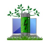 Green energy and notebook illustration design concept Stock Illustration