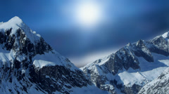 Snow mountain panorama. winter time. season. nature landscape Stock Footage