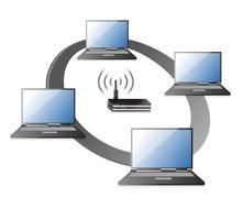 Wifi / wlan laptops connection concept illustration design over a white backg Stock Illustration