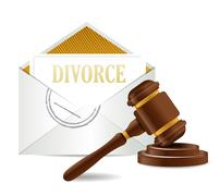 divorce decree document papers and gavel illustration design over a white bac - stock illustration