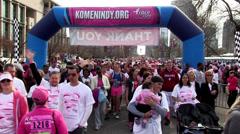 Finish line at Race 5k marathon Stock Footage