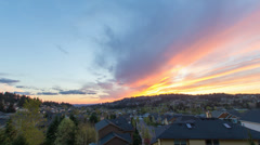 Happy Valley Oregon Suburban Homes at Colorful Sunset and Clouds Time Lapse Stock Footage