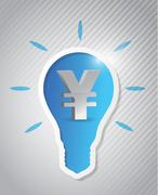 yen idea light bulb cut out on a background - stock illustration