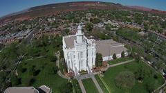 Aerial red rock St George Utah Mormon LDS Temple HD 0053 Stock Footage